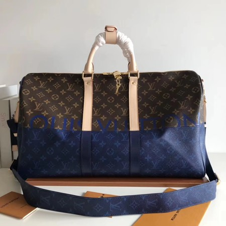Louis Vuitton Monogram Canvas Keepall 50CM with Shoulder Strap 43861 blue.brown