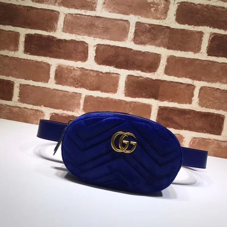 Gucci Marmont matelasse Velvet leather waist pack 476434 blue