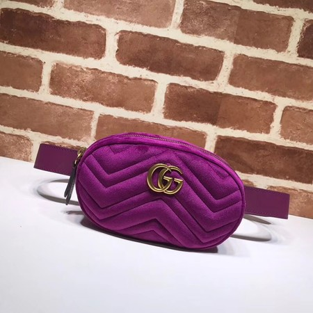 Gucci GG Marmont matelasse Velvet leather waist pack 476434 purple