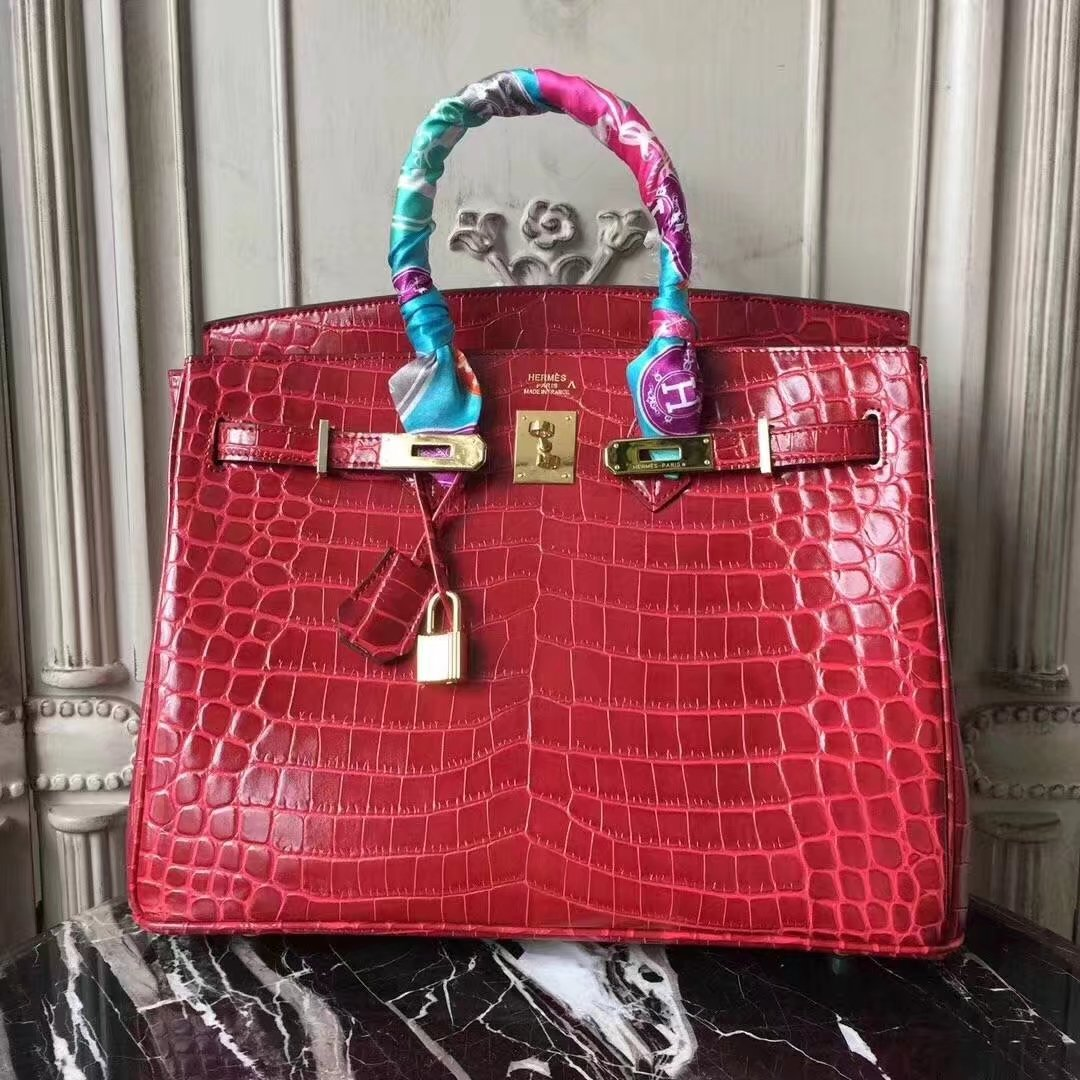 Hermes Upgraded version Birkin BK35 Tote Bag Croco Leather H8099 Wine