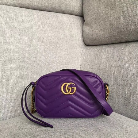 Gucci GG marmont matelasse Original calfskin mini bag 448065 purple