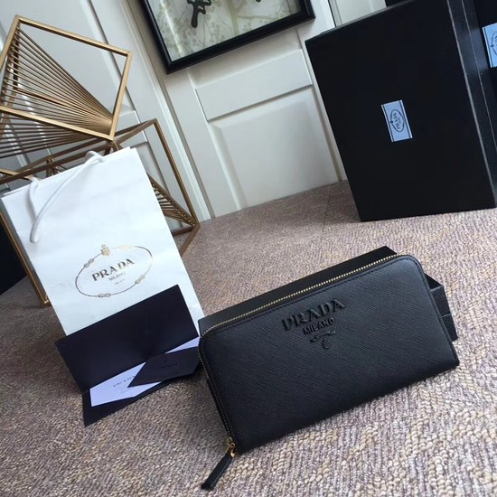 Prada Saffiano Leather Large Zippy Wallets 1MH317 black