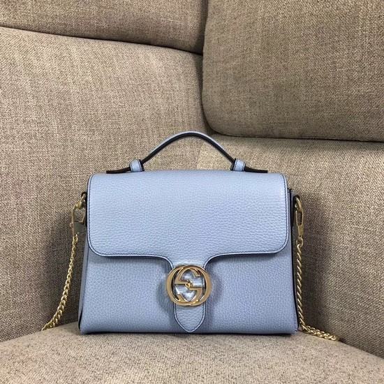 Gucci GG Calf leather top quality tote bag 510302 Sky blue