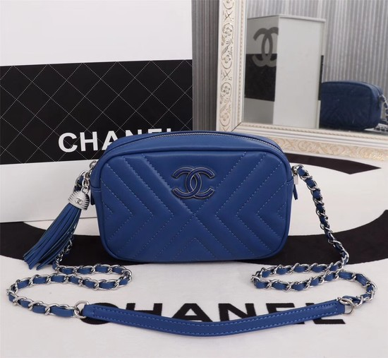 Chanel Calfskin Camera Case bag A57617 blue