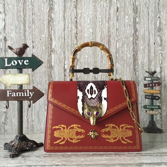 Gucci GG NOW medium top handle bag 466434 red