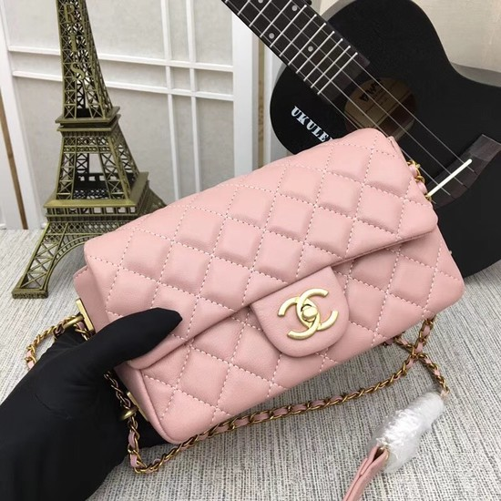 Chanel mini Sheepskin Leather cross-body bag 5698 pink