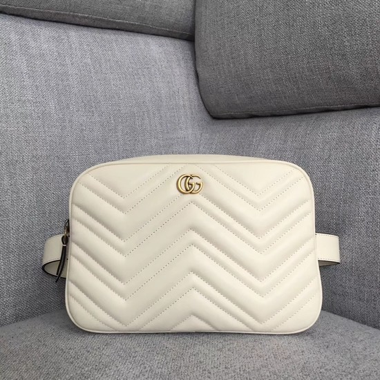 Gucci GG Marmont matelasse belt bag 523380 white