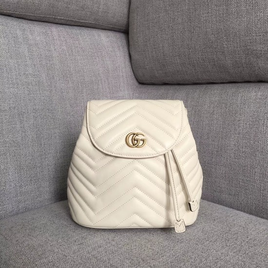 Gucci GG Marmont matelasse backpack 528129 white
