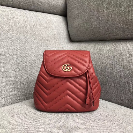 Gucci GG Marmont matelasse backpack 528129 red