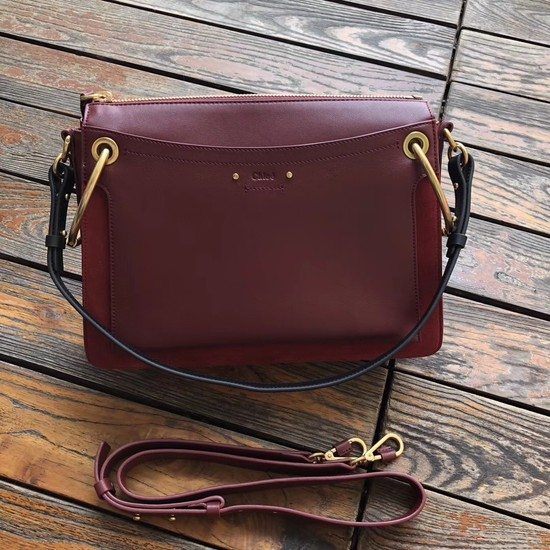 CHLOE Roy leather and suede Medium shoulder bag 20656 Plum purple