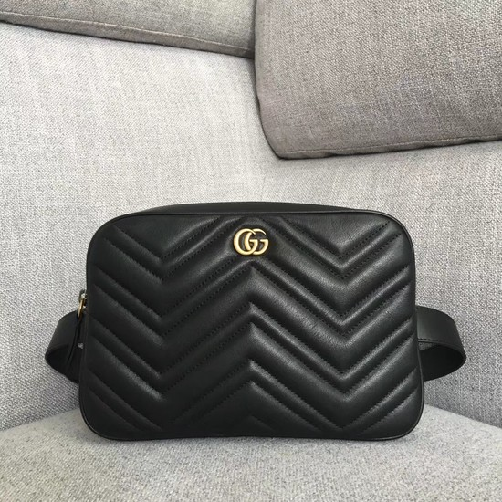Gucci GG Marmont matelasse belt bag 523380 Black