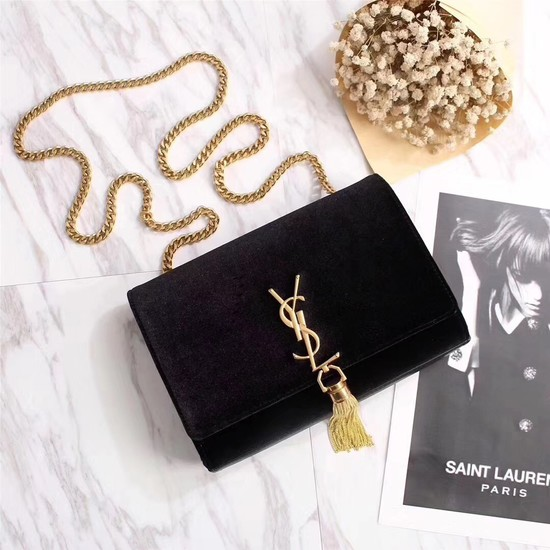 SAINT LAURENT Kate crystal monogram velvet wallet-on-chain 265820 black