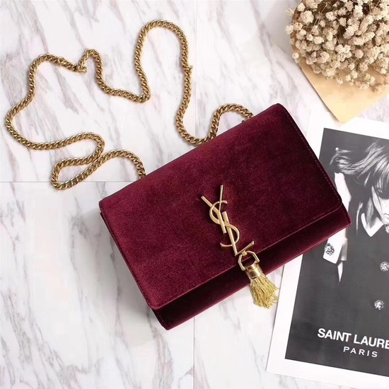 SAINT LAURENT Kate crystal monogram velvet wallet-on-chain 265820 Pallisandre