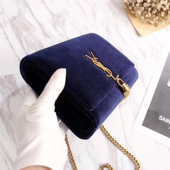 SAINT LAURENT Kate crystal monogram velvet wallet-on-chain 265820 dark blue