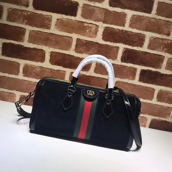 Gucci Ophidia medium top handle bag 524532 Black suede