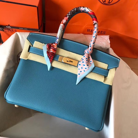 Hermes Birkin Tote Bag Original Togo Leather BK35 blue