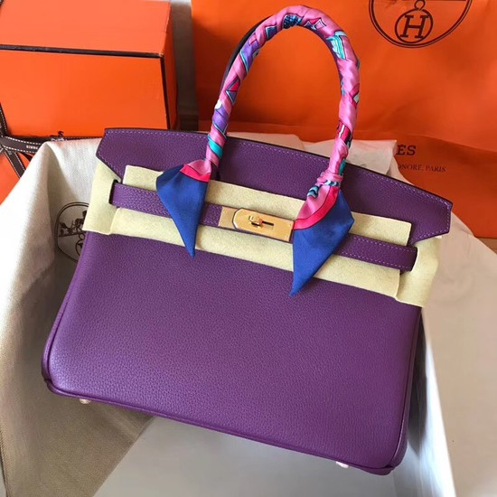 Hermes Birkin Tote Bag Original Togo Leather BK35 purple