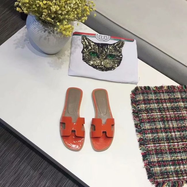 Hermes lady leather Slipper HO808HMJ orange
