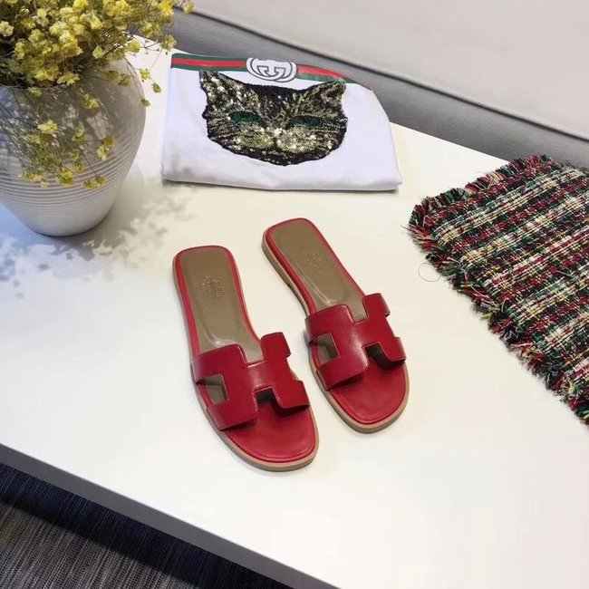 Hermes lady leather Slipper HO809HMJ red