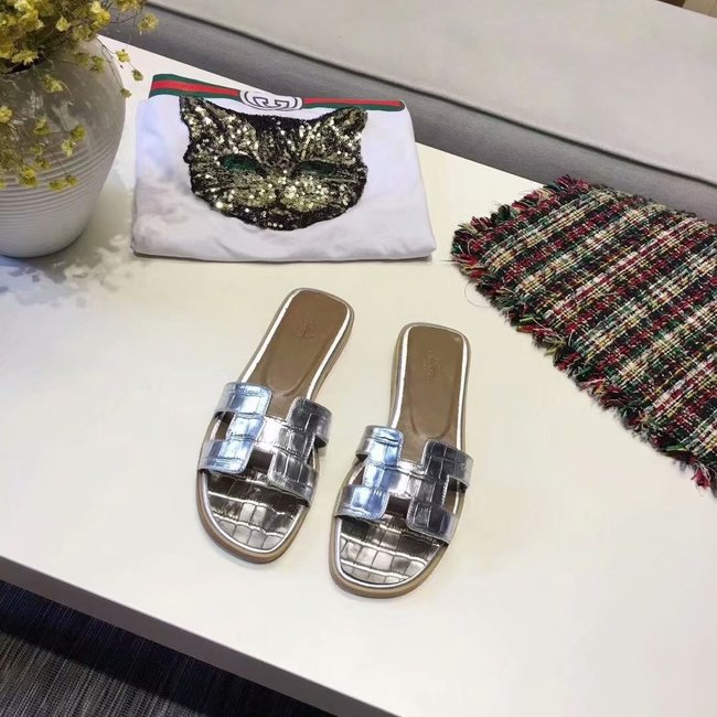 Hermes lady leather Slipper HO811HMJ silver