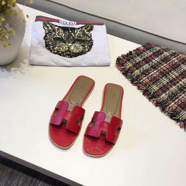 Hermes lady leather Slipper HO811HMJ red