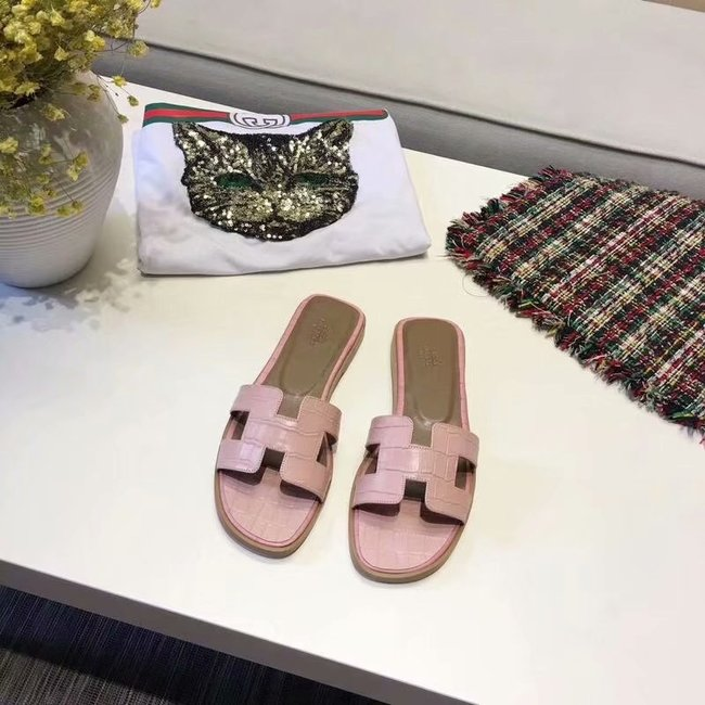 Hermes lady leather Slipper HO811HMJ pink