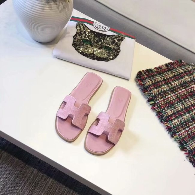 Hermes lady leather Slipper HO812HMJ pink