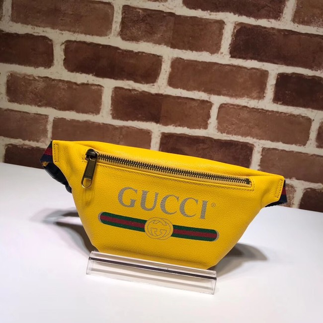 Gucci Print small belt bag 527792 yellow