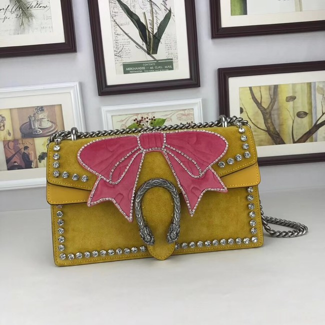 Gucci Dionysus small crystal shoulder bag 400249 yellow