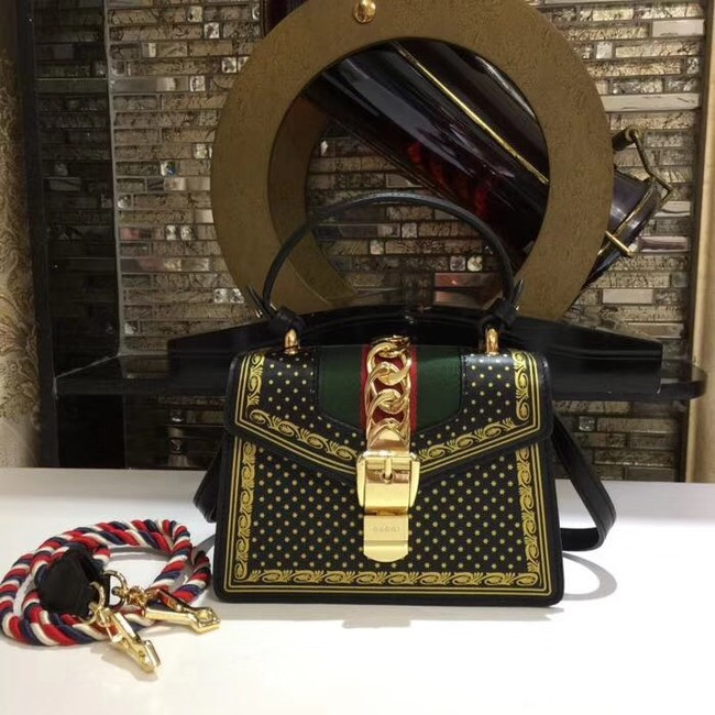 Gucci Sylvie leather mini bag 470270 black