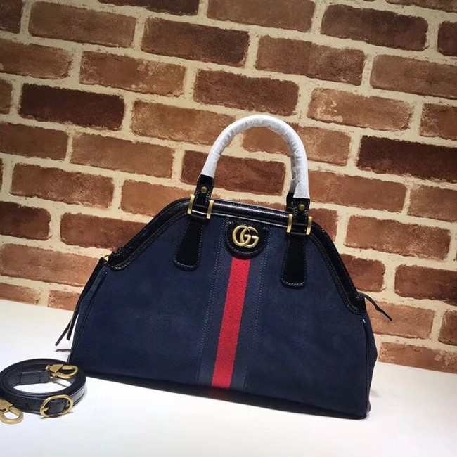Gucci RE medium top handle bag Style 516459 Royal blue suede