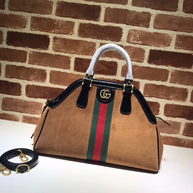 Gucci RE medium top handle bag Style 516459 brown suede