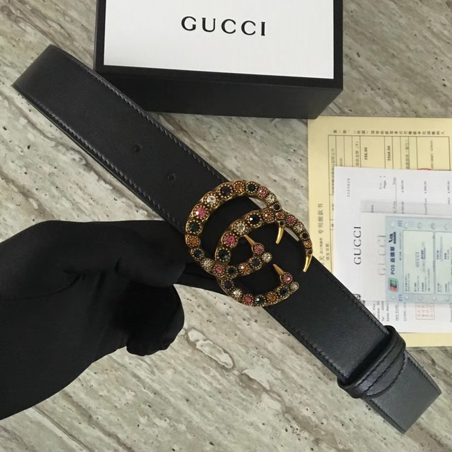 Gucci Leather belt with crystal Double G buckle 480199 black