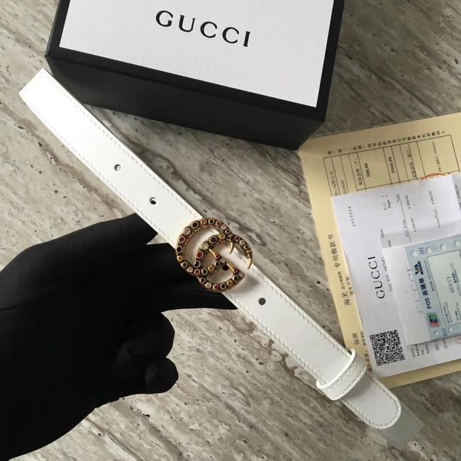 Gucci Leather belt with crystal Double G buckle G22555 white