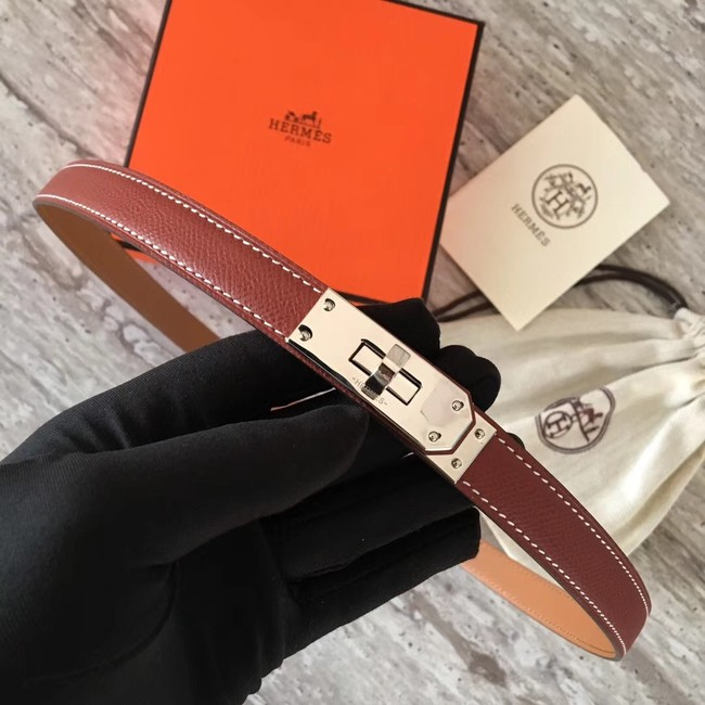 Hermes original epsom leather Kelly belt H069854 fuchsia silver plated metal