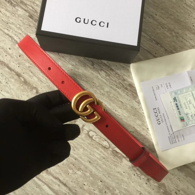 Gucci Leather belt with Double G buckle 409417 red