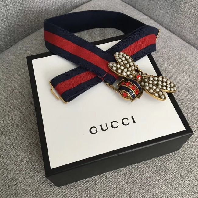 Gucci Sylvie Web belt with bee 453277 red&blue