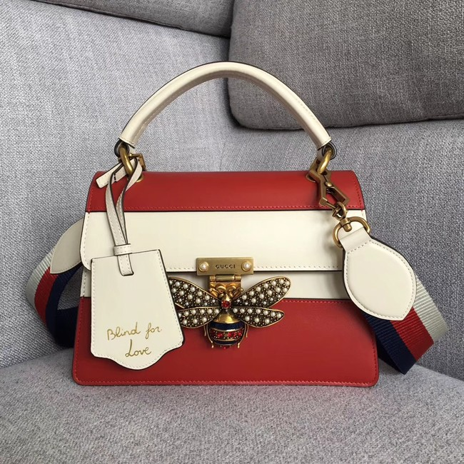 Gucci Queen Margaret small top handle bag 476541 red&white