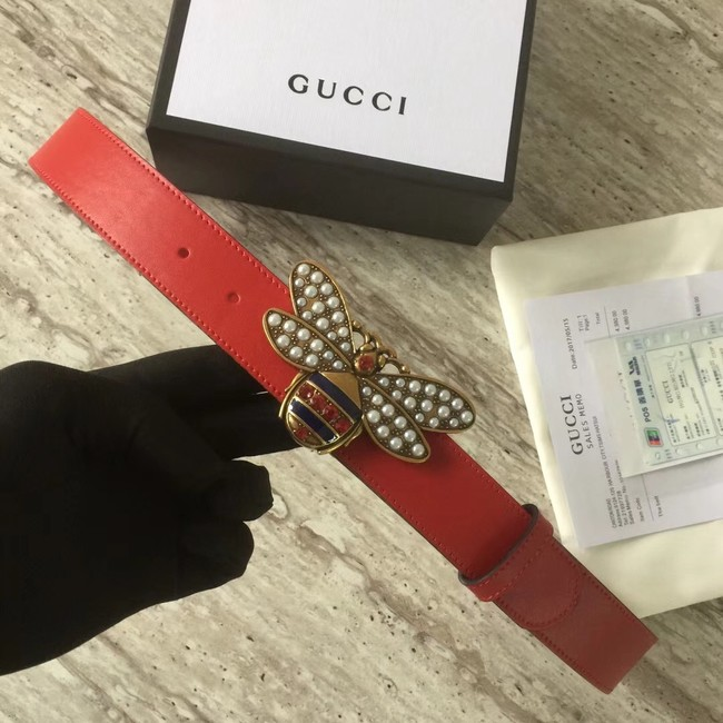 Gucci Queen Margaret leather belt 499637 red