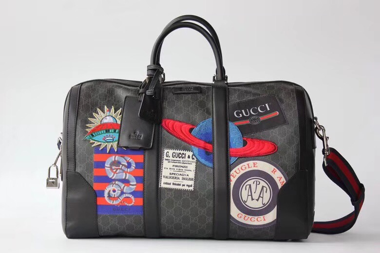 Gucci Night Courrier soft GG Supreme carry-on duffle 474131 black