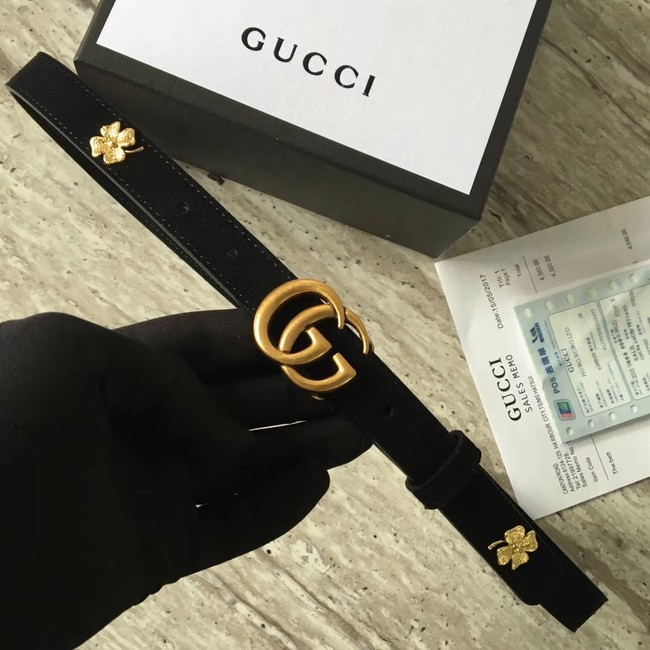 Gucci Leather belt with Double G buckle G55333 black