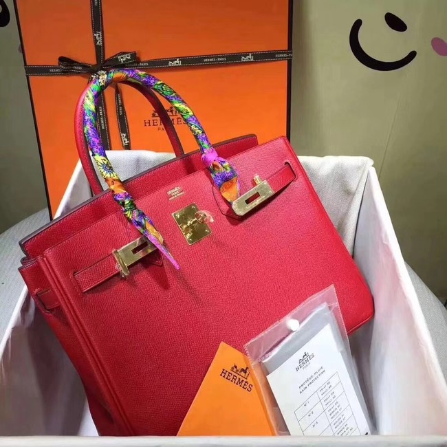 Hermes original Epsom leather birkin Tote Bag H035 red