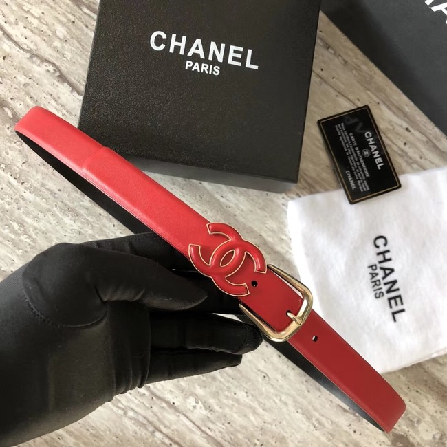 Chanel Original Calf leather Belt 56989 red