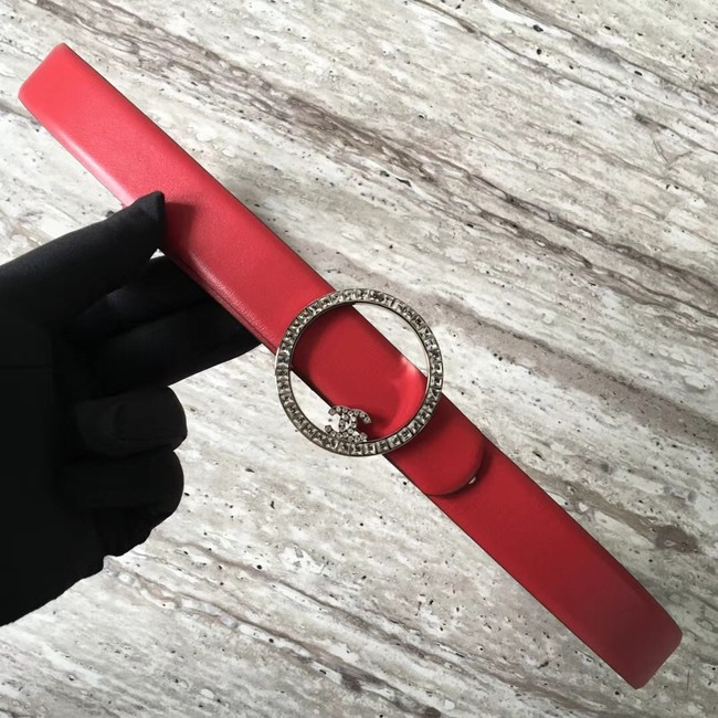 Chanel Original Calf leather Belt 56991 red