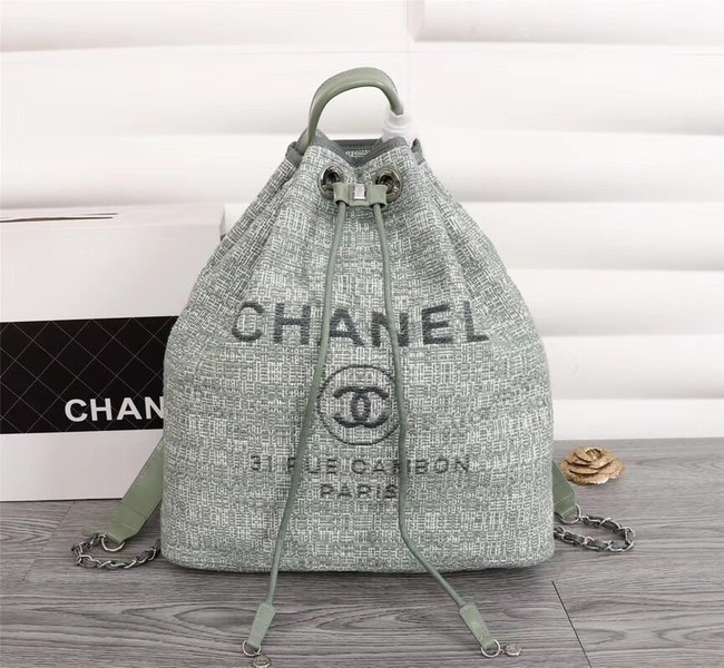 Chanel Canvas Backpack A57498 green