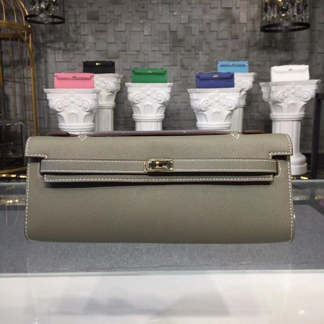 Hermes Kelly Clutch Epsom calfskin H0588 grey