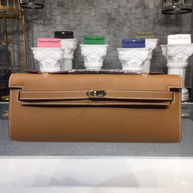 Hermes Kelly Clutch Epsom calfskin H0588 brown