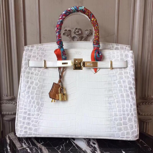 Hermes Birkin Tote Bag Croco Leather BK35 white
