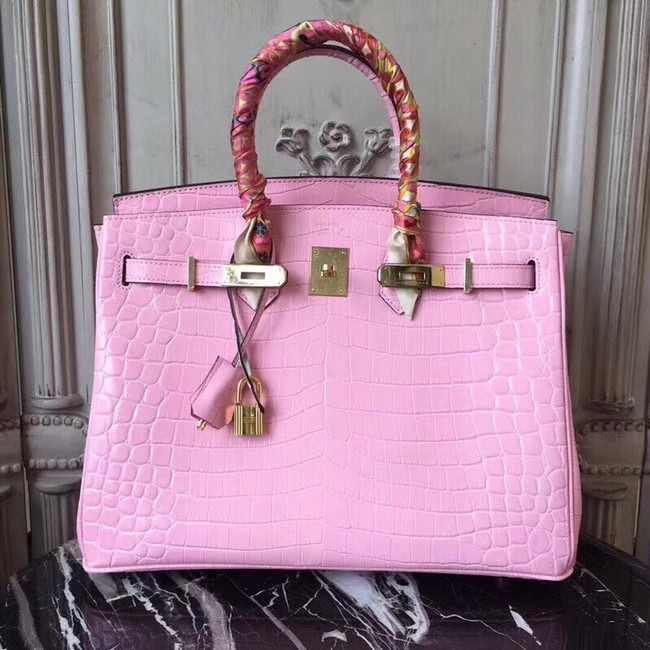 Hermes Birkin Tote Bag Croco Leather BK35 pink