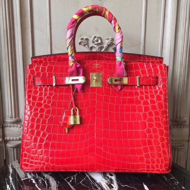 Hermes Birkin Tote Bag Croco Leather BK35 red
